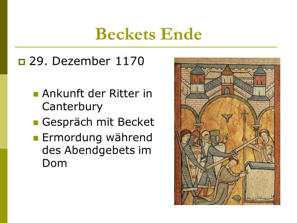 Beckets Ende 29. Dezember 1170 Ankunft der Ritter in Canterbury