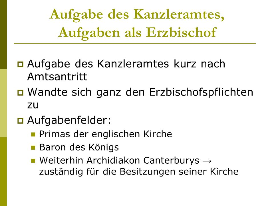 Aufgabe des Kanzleramtes, Aufgaben als Erzbischof