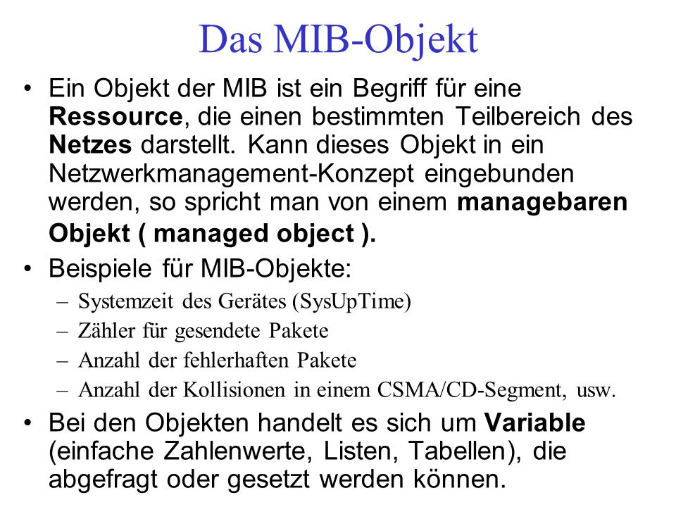 Das MIB-Objekt