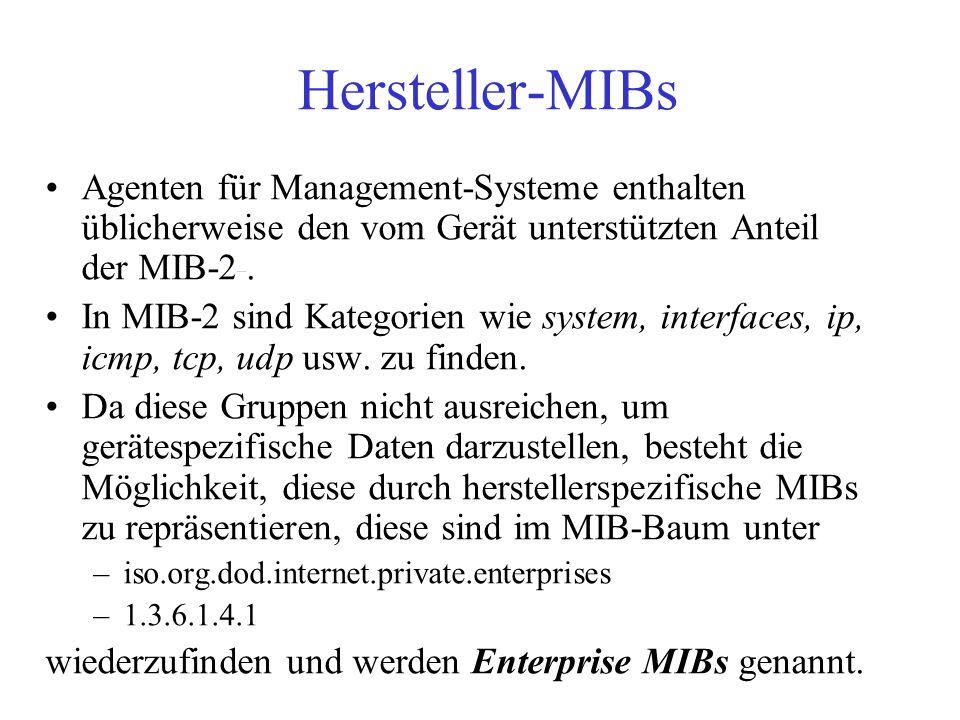 Hersteller-MIBs Agenten für Management-Systeme enthalten üblicherweise den vom Gerät unterstützten Anteil der MIB-2 .