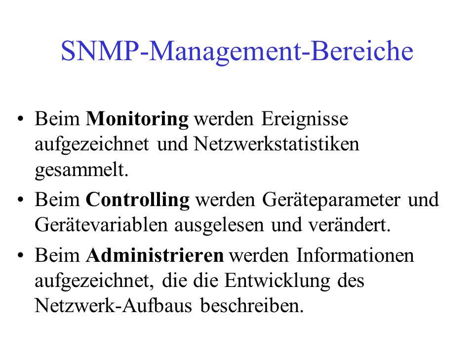 SNMP-Management-Bereiche