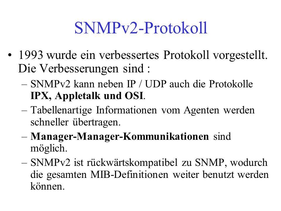 SNMPv2-Protokoll 1993 wurde ein verbessertes Protokoll vorgestellt. Die Verbesserungen sind :