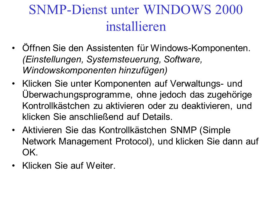 SNMP-Dienst unter WINDOWS 2000 installieren