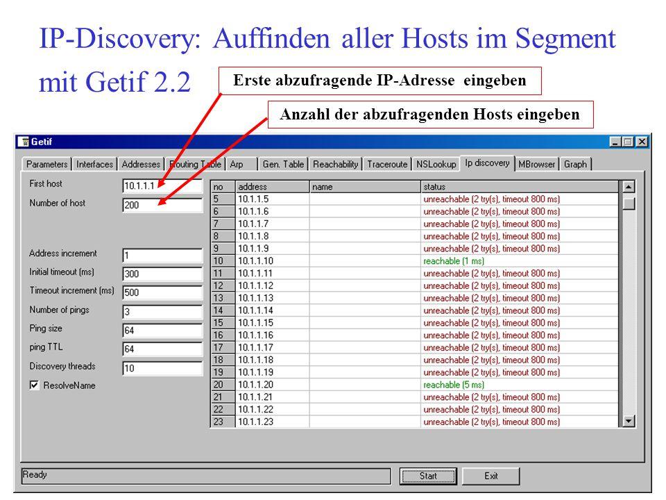 IP-Discovery: Auffinden aller Hosts im Segment