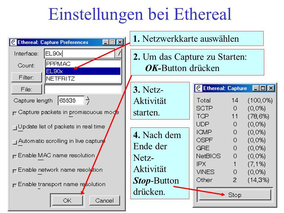 Einstellungen bei Ethereal