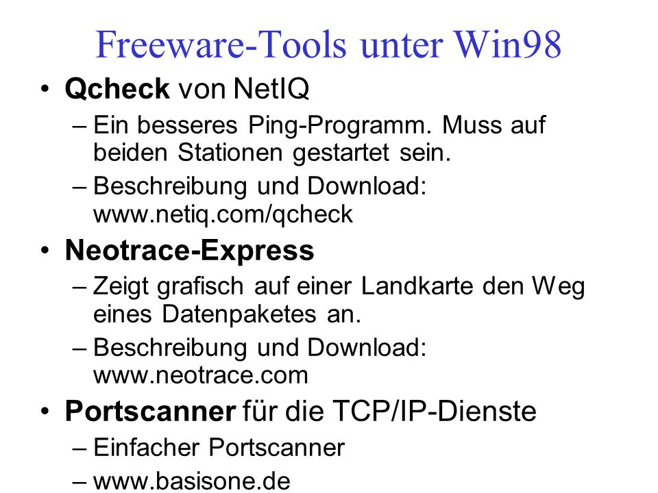 Freeware-Tools unter Win98