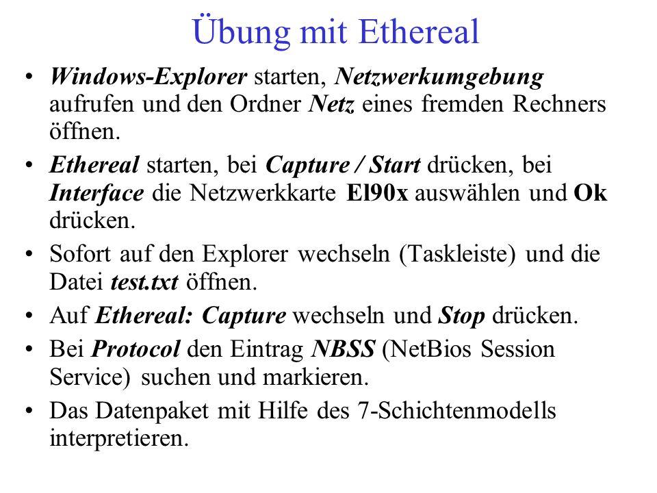 Übung mit Ethereal Windows-Explorer starten, Netzwerkumgebung aufrufen und den Ordner Netz eines fremden Rechners öffnen.