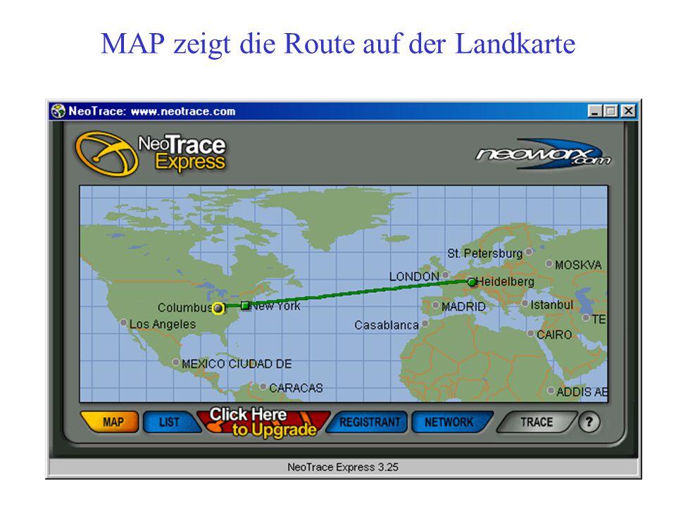 MAP zeigt die Route auf der Landkarte
