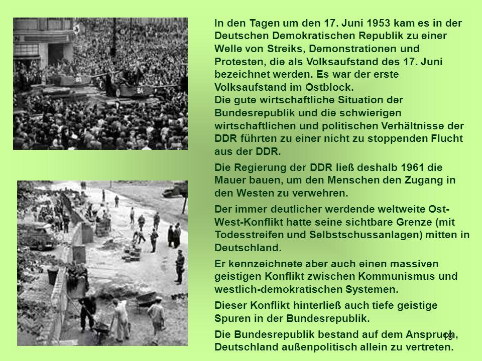 In den Tagen um den 17. Juni 1953 kam es in der Deutschen Demokratischen Republik zu einer Welle von Streiks, Demonstrationen und Protesten, die als Volksaufstand des 17. Juni bezeichnet werden. Es war der erste Volksaufstand im Ostblock.