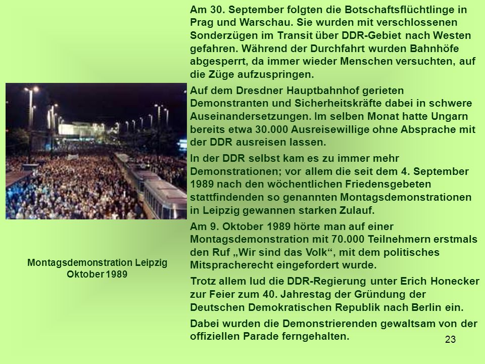 Montagsdemonstration Leipzig Oktober 1989