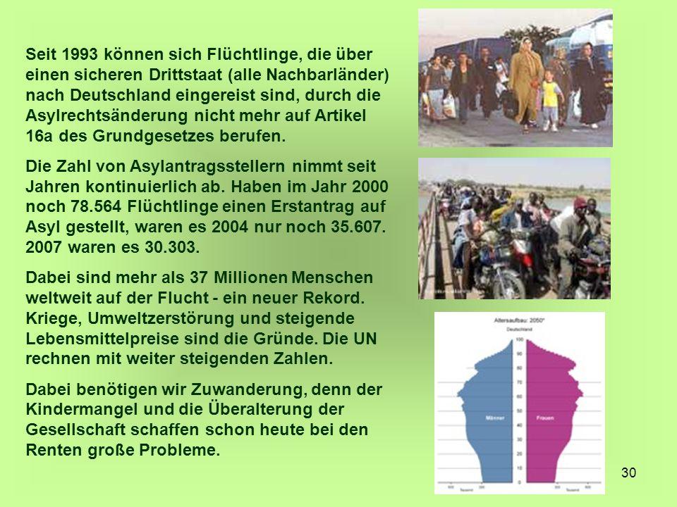 Seit 1993 können sich Flüchtlinge, die über einen sicheren Drittstaat (alle Nachbarländer) nach Deutschland eingereist sind, durch die Asylrechtsänderung nicht mehr auf Artikel 16a des Grundgesetzes berufen.