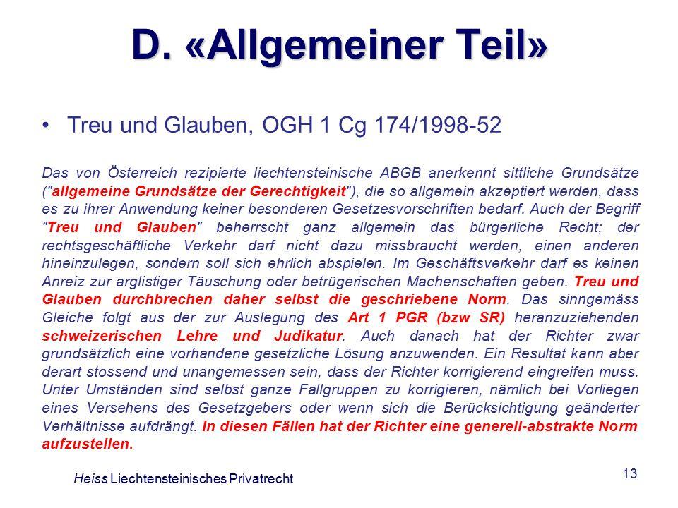 D. «Allgemeiner Teil» Treu und Glauben, OGH 1 Cg 174/1998-52