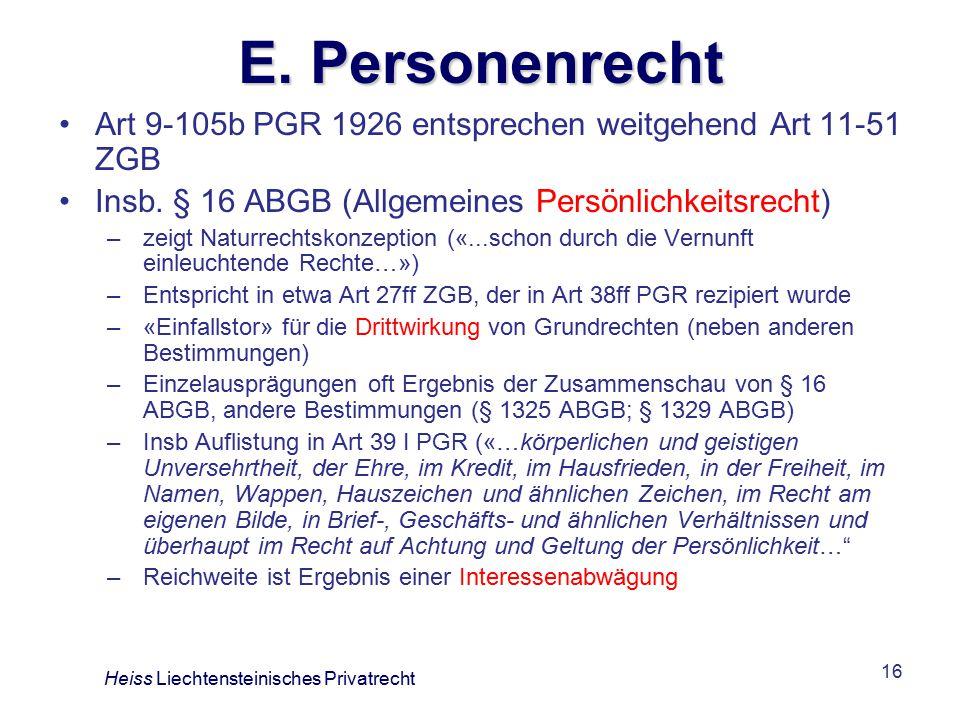 E. Personenrecht Art 9-105b PGR 1926 entsprechen weitgehend Art 11-51 ZGB. Insb. § 16 ABGB (Allgemeines Persönlichkeitsrecht)