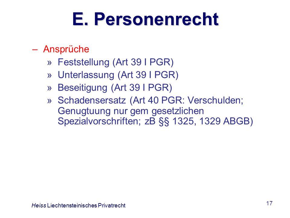 E. Personenrecht Ansprüche Feststellung (Art 39 I PGR)