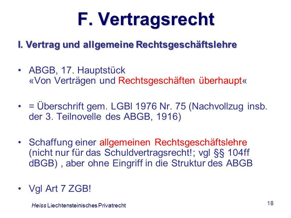 F. Vertragsrecht I. Vertrag und allgemeine Rechtsgeschäftslehre