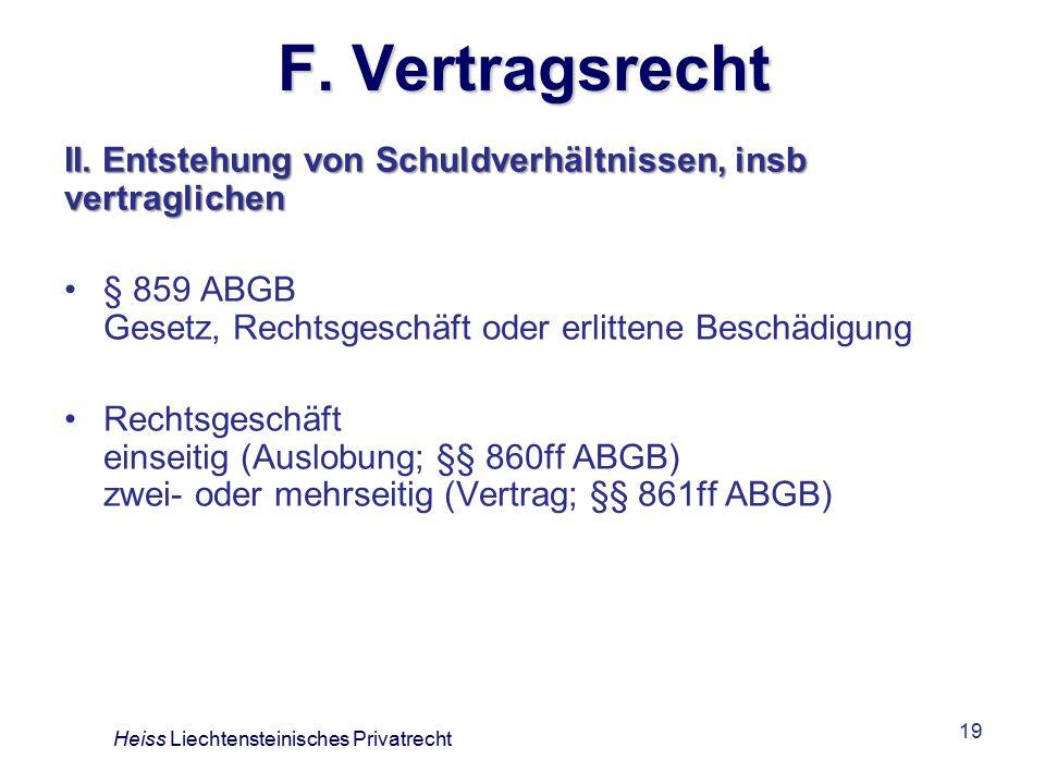 F. Vertragsrecht II. Entstehung von Schuldverhältnissen, insb vertraglichen. § 859 ABGB Gesetz, Rechtsgeschäft oder erlittene Beschädigung.