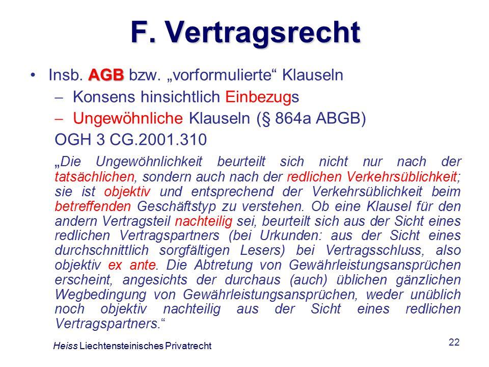 """F. Vertragsrecht Insb. AGB bzw. """"vorformulierte Klauseln"""