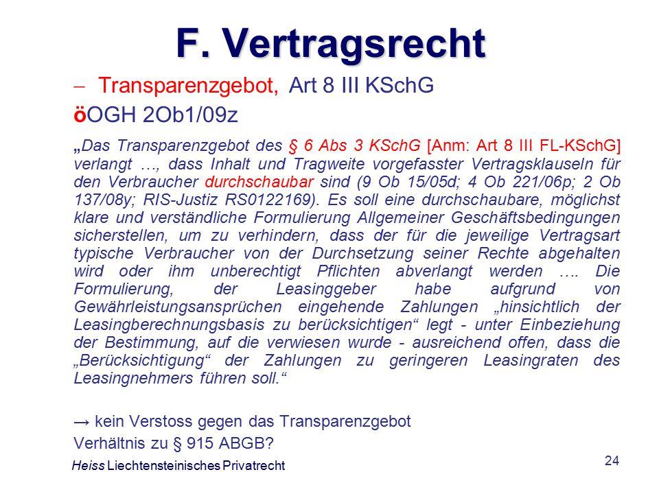 F. Vertragsrecht Transparenzgebot, Art 8 III KSchG öOGH 2Ob1/09z