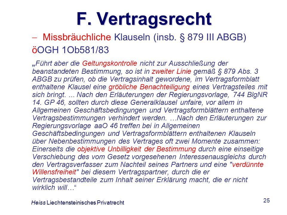 F. Vertragsrecht Missbräuchliche Klauseln (insb. § 879 III ABGB)
