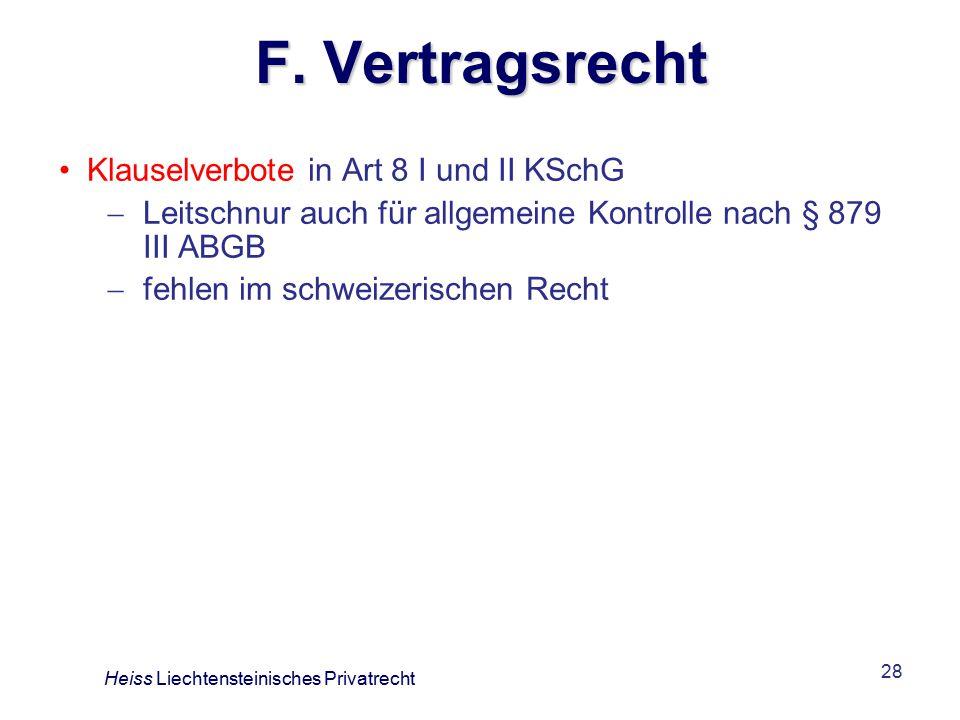 F. Vertragsrecht Klauselverbote in Art 8 I und II KSchG