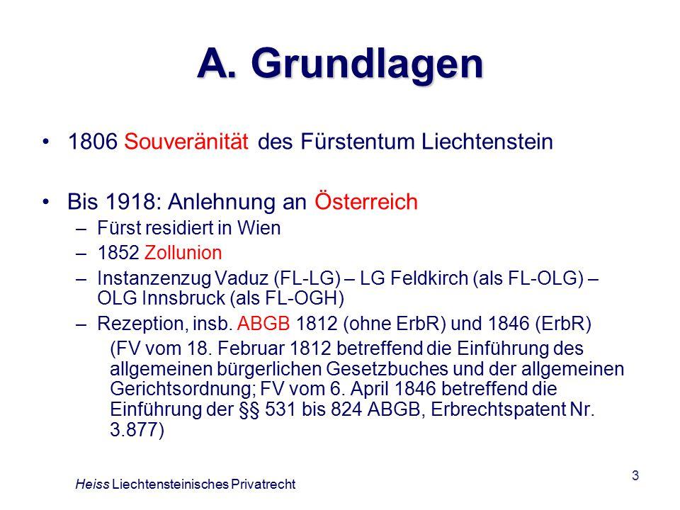 A. Grundlagen 1806 Souveränität des Fürstentum Liechtenstein