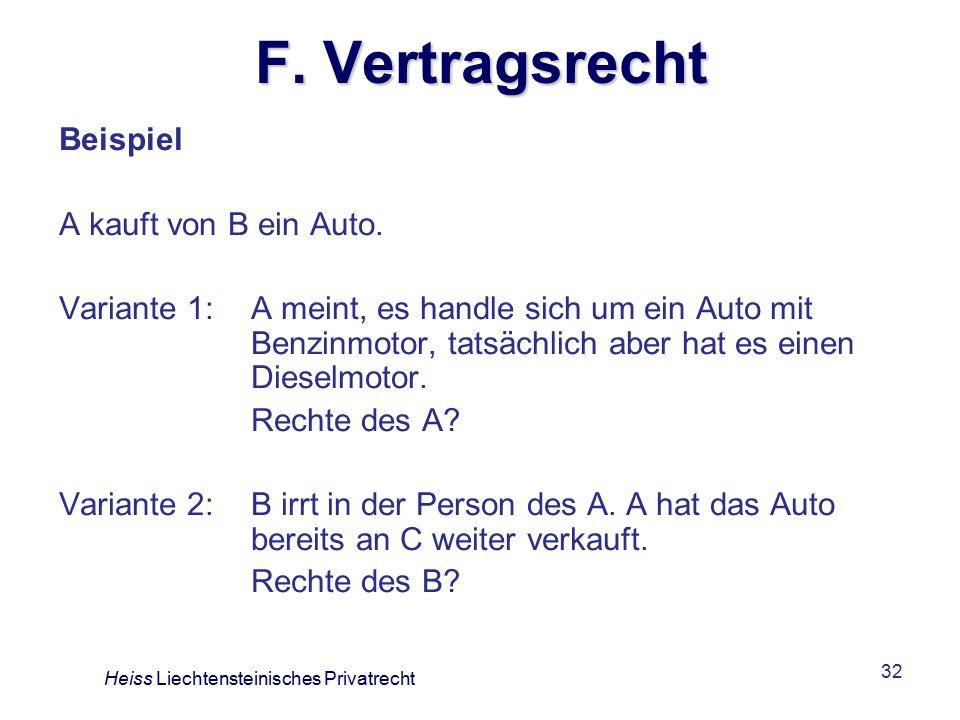 F. Vertragsrecht Beispiel A kauft von B ein Auto.