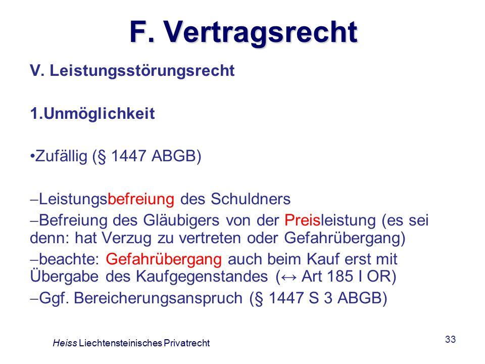 F. Vertragsrecht V. Leistungsstörungsrecht Unmöglichkeit
