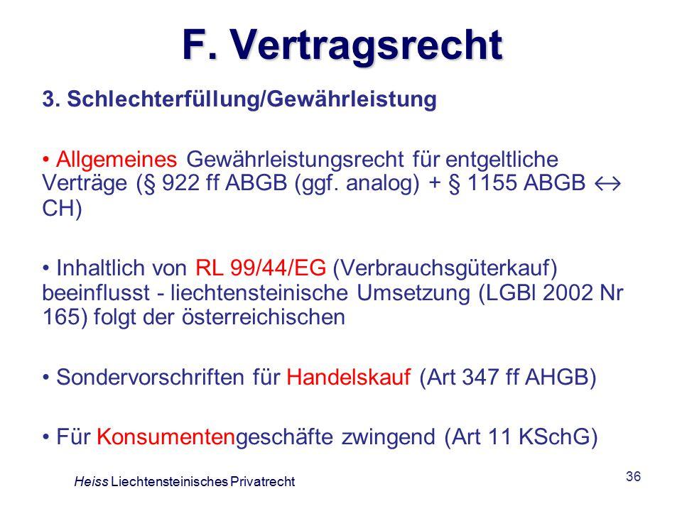 F. Vertragsrecht 3. Schlechterfüllung/Gewährleistung