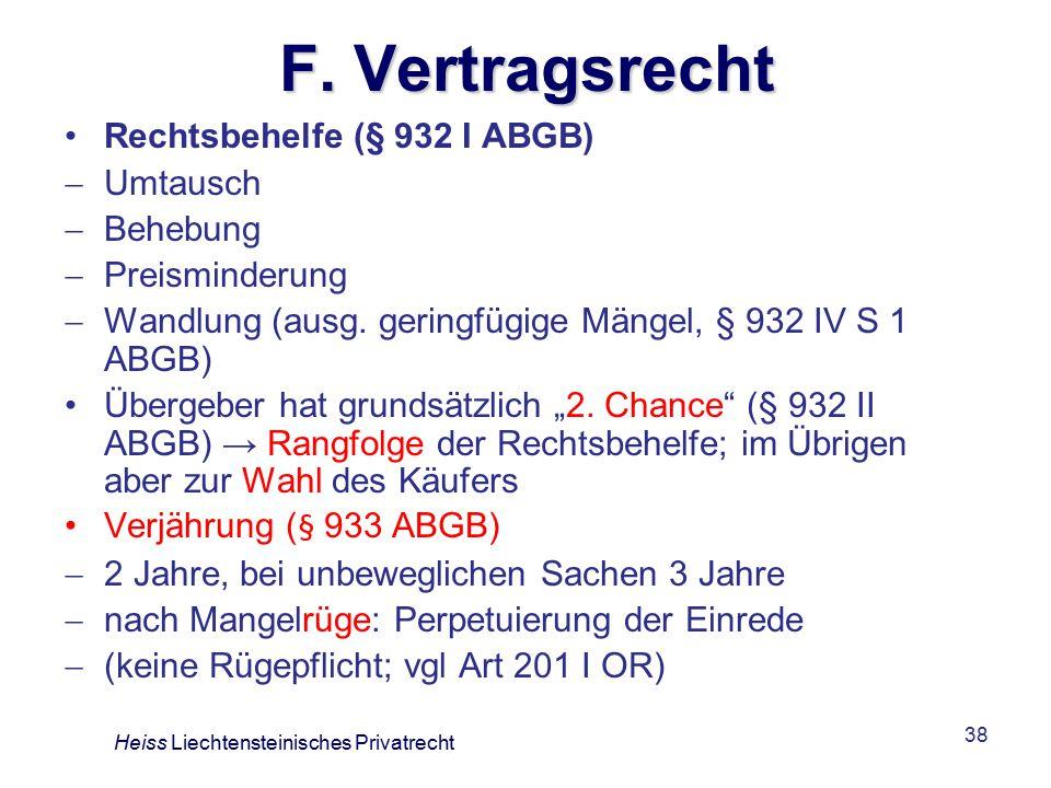 F. Vertragsrecht Rechtsbehelfe (§ 932 I ABGB) Umtausch Behebung