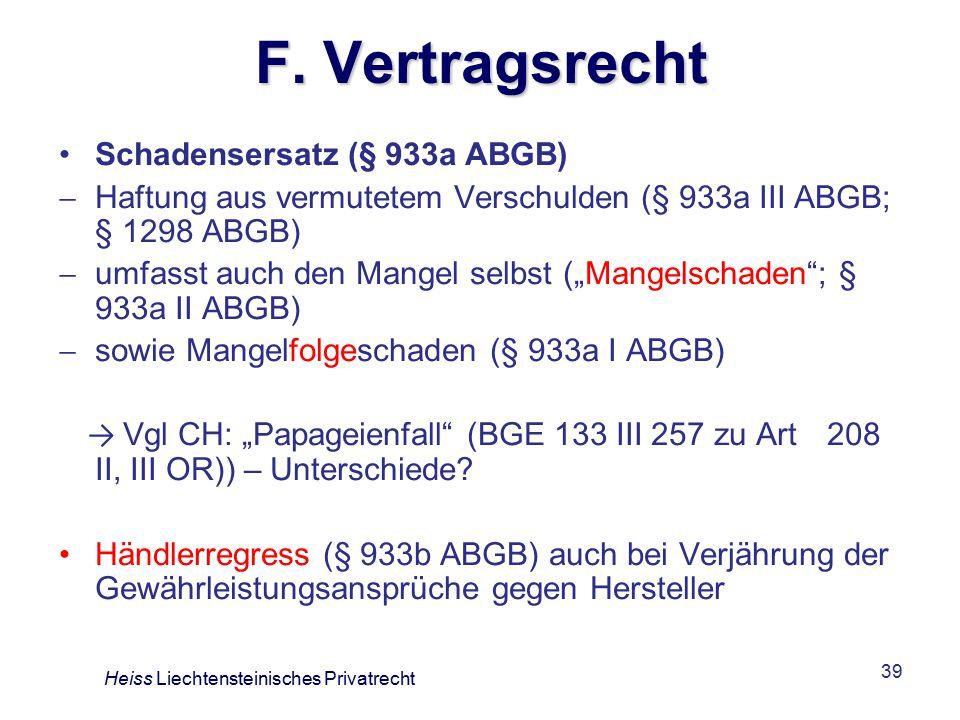 F. Vertragsrecht Schadensersatz (§ 933a ABGB)