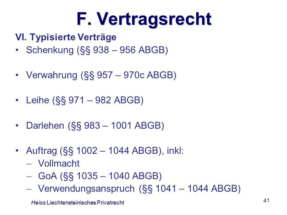 F. Vertragsrecht VI. Typisierte Verträge Schenkung (§§ 938 – 956 ABGB)