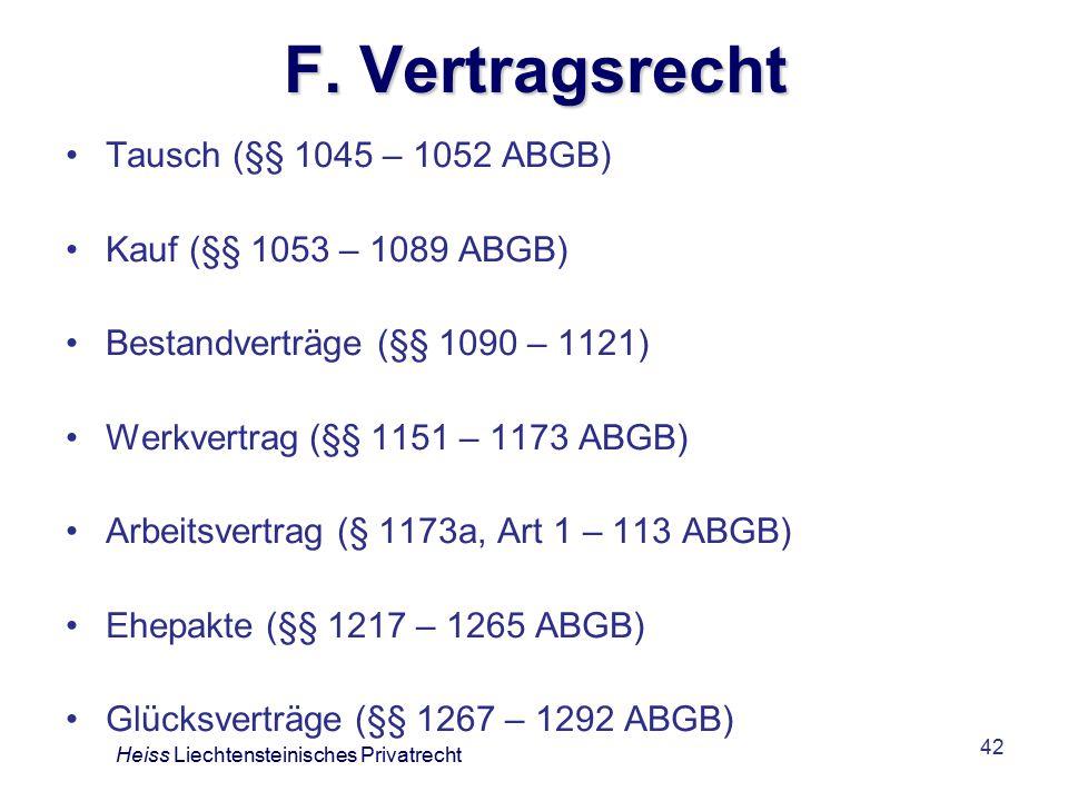 F. Vertragsrecht Tausch (§§ 1045 – 1052 ABGB)