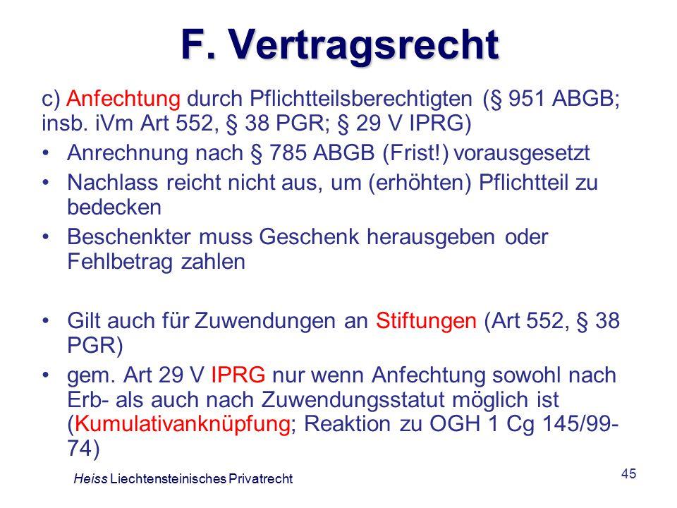 F. Vertragsrecht c) Anfechtung durch Pflichtteilsberechtigten (§ 951 ABGB; insb. iVm Art 552, § 38 PGR; § 29 V IPRG)