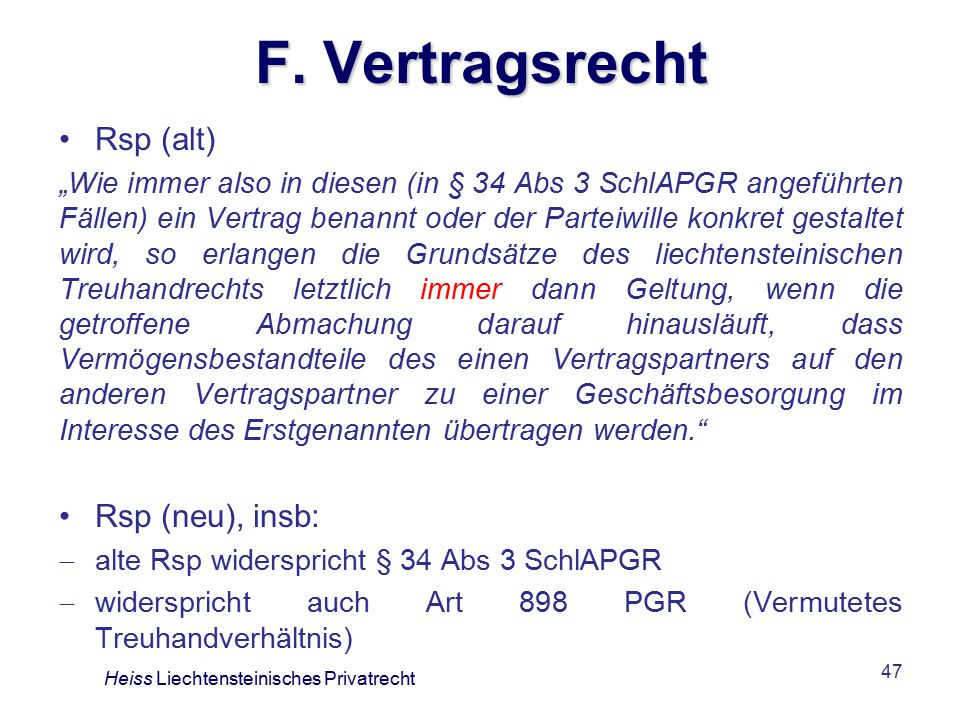 F. Vertragsrecht Rsp (alt) Rsp (neu), insb: