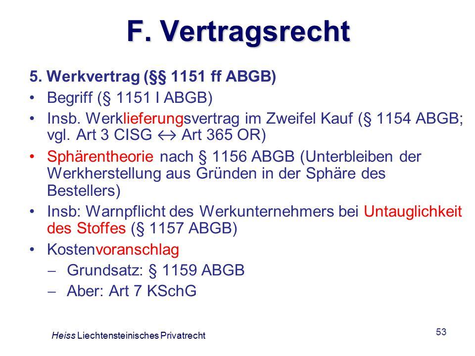 F. Vertragsrecht 5. Werkvertrag (§§ 1151 ff ABGB)