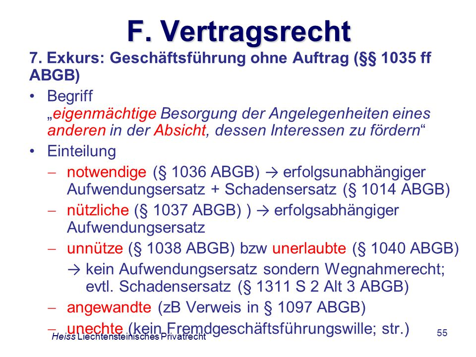 F. Vertragsrecht 7. Exkurs: Geschäftsführung ohne Auftrag (§§ 1035 ff ABGB)