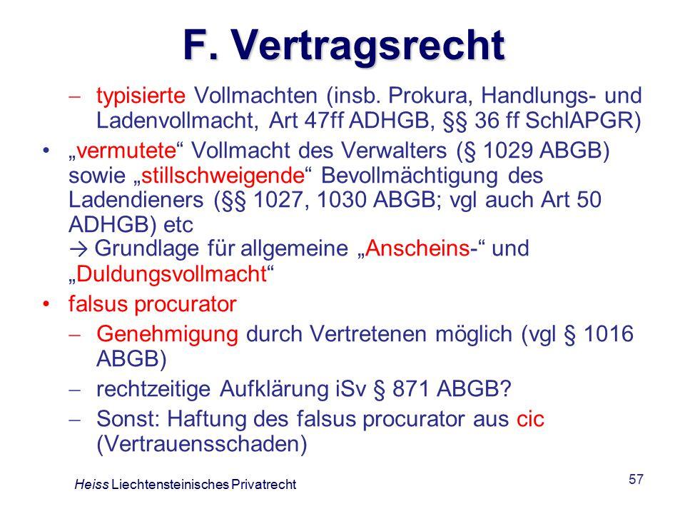 F. Vertragsrecht typisierte Vollmachten (insb. Prokura, Handlungs- und Ladenvollmacht, Art 47ff ADHGB, §§ 36 ff SchlAPGR)