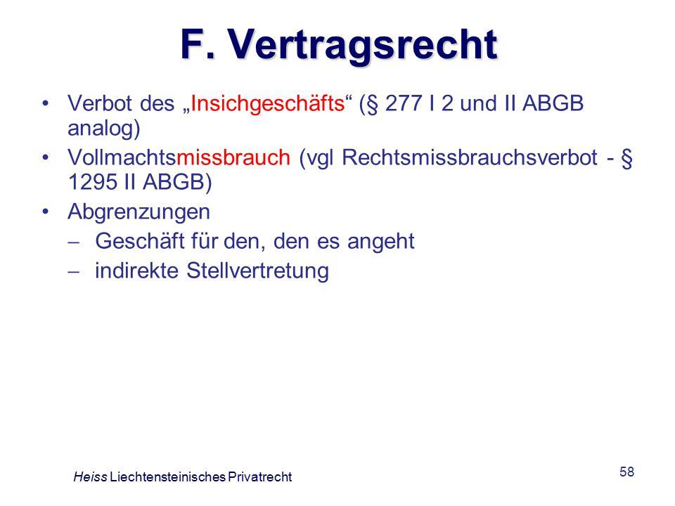 """F. Vertragsrecht Verbot des """"Insichgeschäfts (§ 277 I 2 und II ABGB analog) Vollmachtsmissbrauch (vgl Rechtsmissbrauchsverbot - § 1295 II ABGB)"""