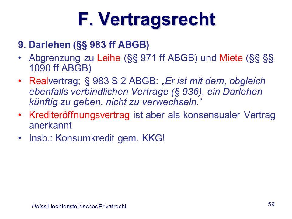 F. Vertragsrecht 9. Darlehen (§§ 983 ff ABGB)