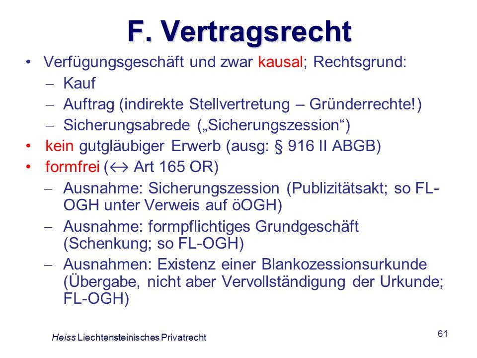 F. Vertragsrecht Verfügungsgeschäft und zwar kausal; Rechtsgrund: Kauf