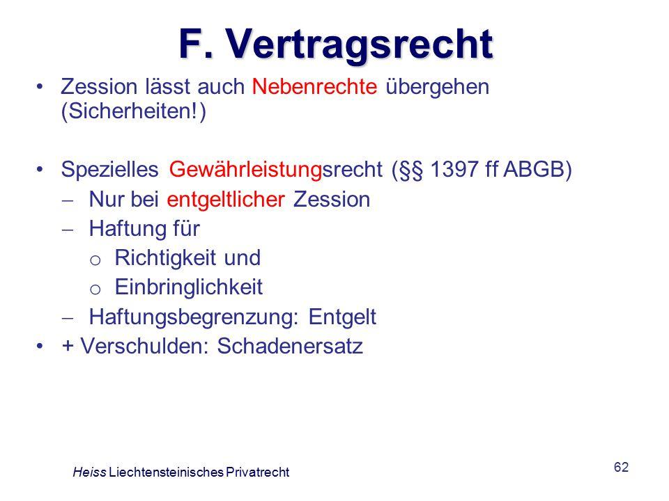 F. Vertragsrecht Zession lässt auch Nebenrechte übergehen (Sicherheiten!) Spezielles Gewährleistungsrecht (§§ 1397 ff ABGB)
