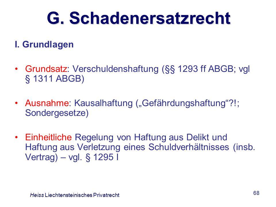 G. Schadenersatzrecht I. Grundlagen
