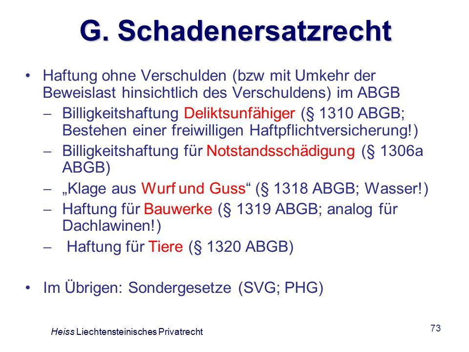 G. Schadenersatzrecht Haftung ohne Verschulden (bzw mit Umkehr der Beweislast hinsichtlich des Verschuldens) im ABGB.