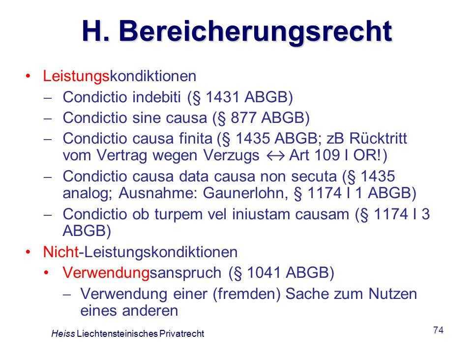 H. Bereicherungsrecht Leistungskondiktionen