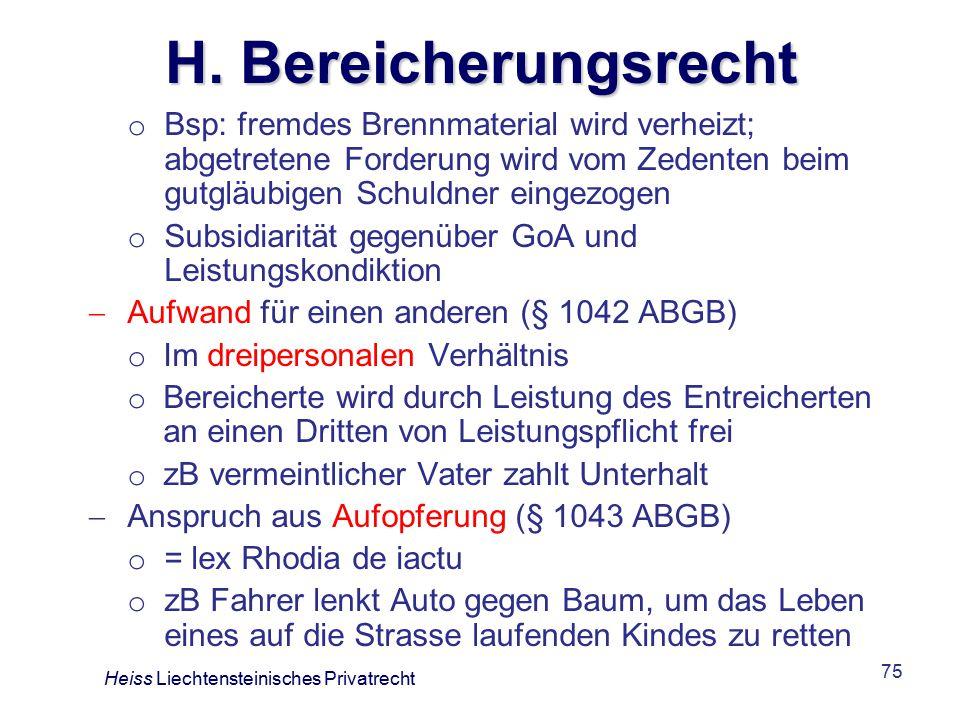 H. Bereicherungsrecht Bsp: fremdes Brennmaterial wird verheizt; abgetretene Forderung wird vom Zedenten beim gutgläubigen Schuldner eingezogen.
