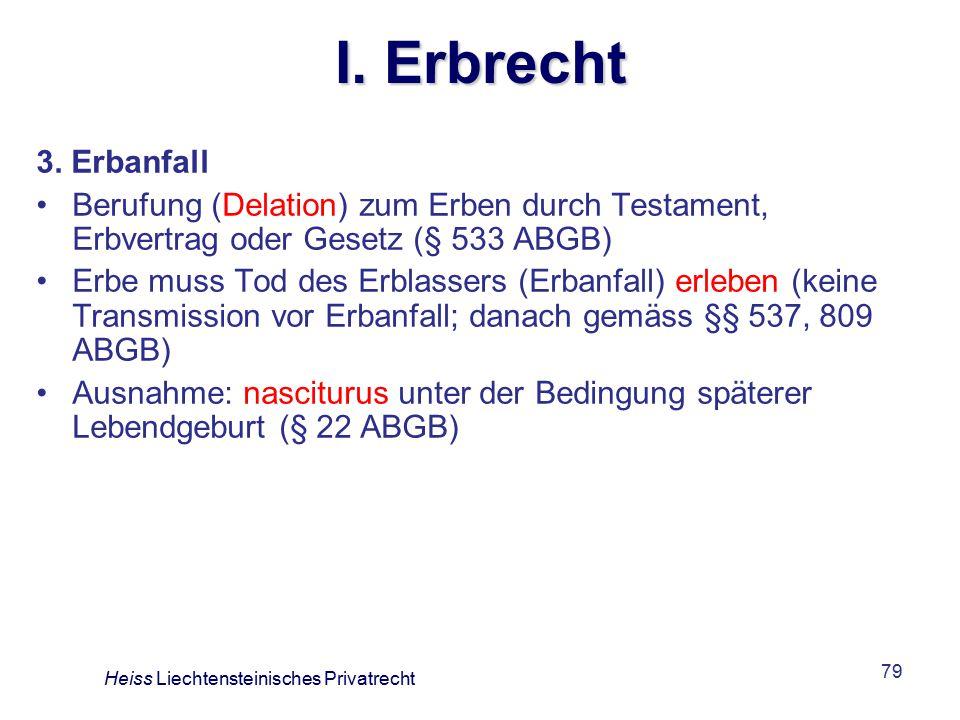 I. Erbrecht 3. Erbanfall. Berufung (Delation) zum Erben durch Testament, Erbvertrag oder Gesetz (§ 533 ABGB)