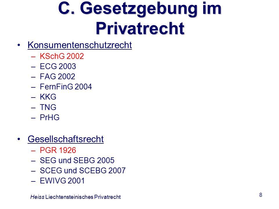 C. Gesetzgebung im Privatrecht
