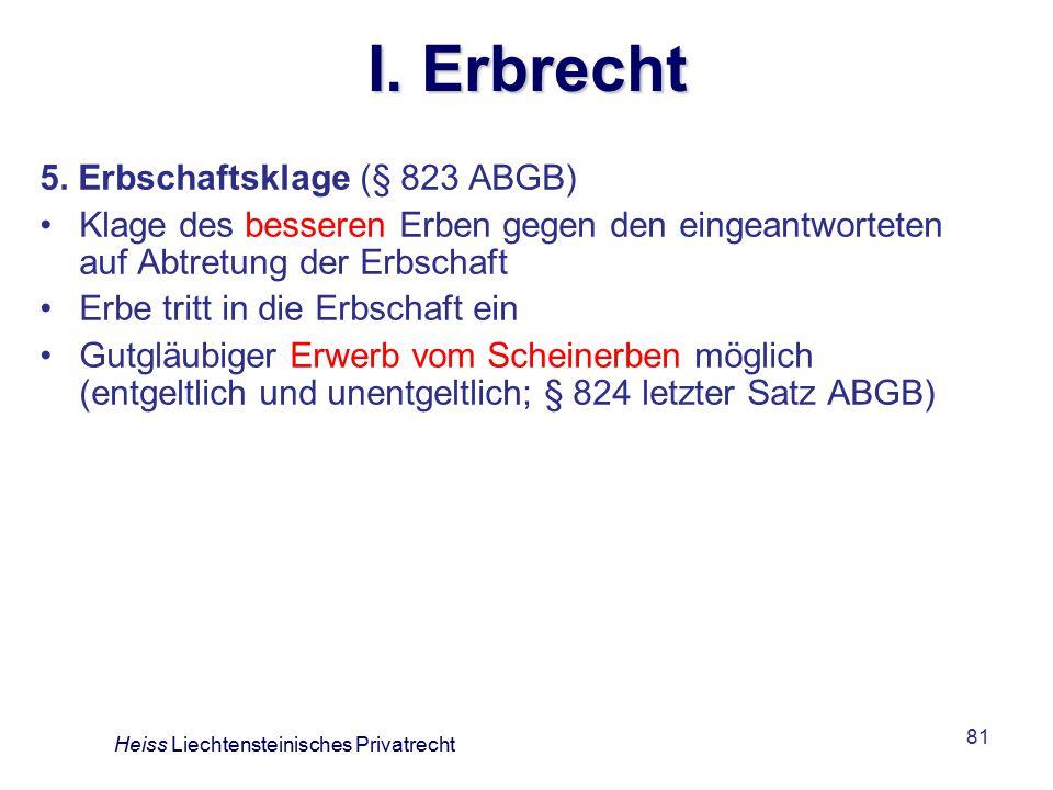 I. Erbrecht 5. Erbschaftsklage (§ 823 ABGB)