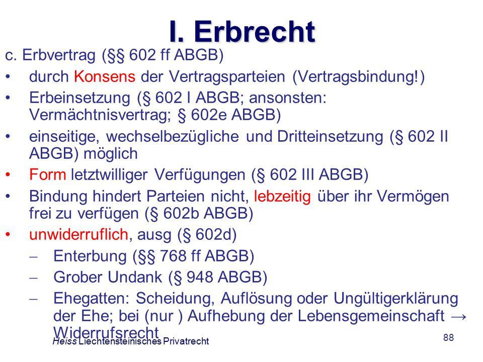 I. Erbrecht c. Erbvertrag (§§ 602 ff ABGB)