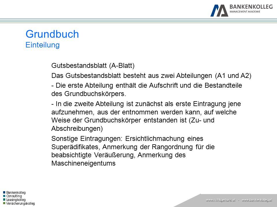 Grundbuch Einteilung Gutsbestandsblatt (A-Blatt)